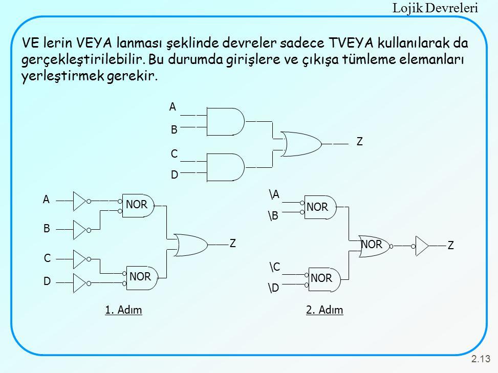 VE lerin VEYA lanması şeklinde devreler sadece TVEYA kullanılarak da gerçekleştirilebilir. Bu durumda girişlere ve çıkışa tümleme elemanları yerleştirmek gerekir.