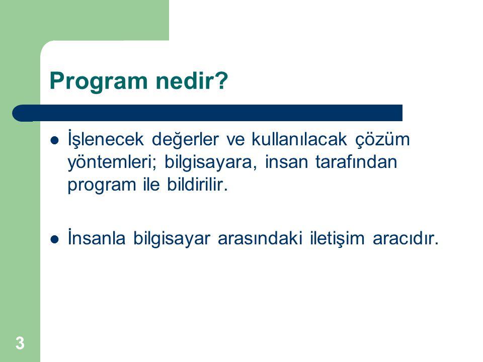 Program nedir İşlenecek değerler ve kullanılacak çözüm yöntemleri; bilgisayara, insan tarafından program ile bildirilir.