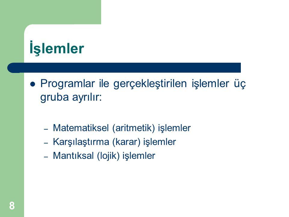 İşlemler Programlar ile gerçekleştirilen işlemler üç gruba ayrılır: