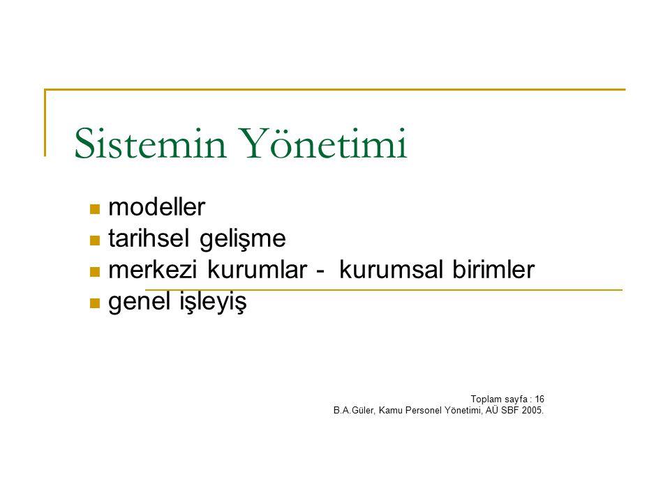 Sistemin Yönetimi modeller tarihsel gelişme