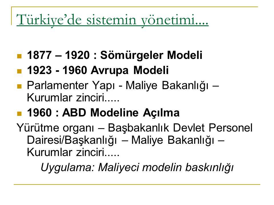 Türkiye'de sistemin yönetimi....