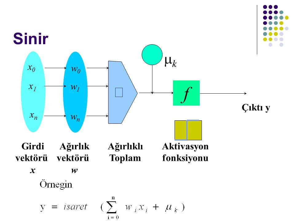- f Sinir mk å Ağırlıklı Toplam Girdi vektörü x Çıktı y Aktivasyon