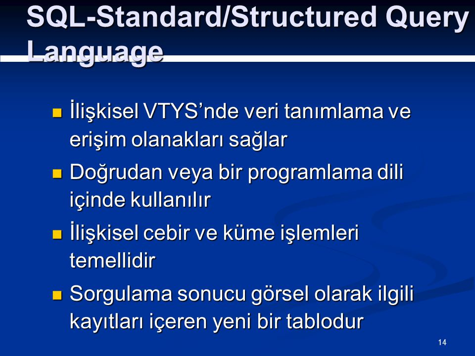 SQL-Standard/Structured Query Language