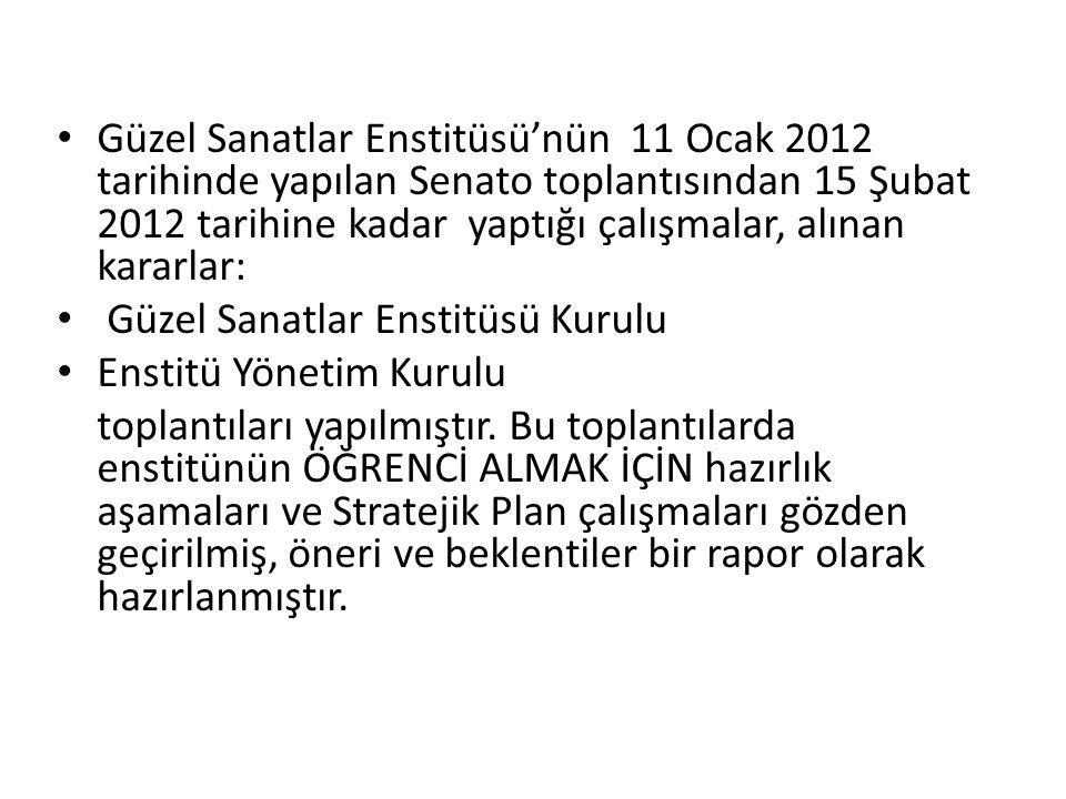 Güzel Sanatlar Enstitüsü'nün 11 Ocak 2012 tarihinde yapılan Senato toplantısından 15 Şubat 2012 tarihine kadar yaptığı çalışmalar, alınan kararlar: