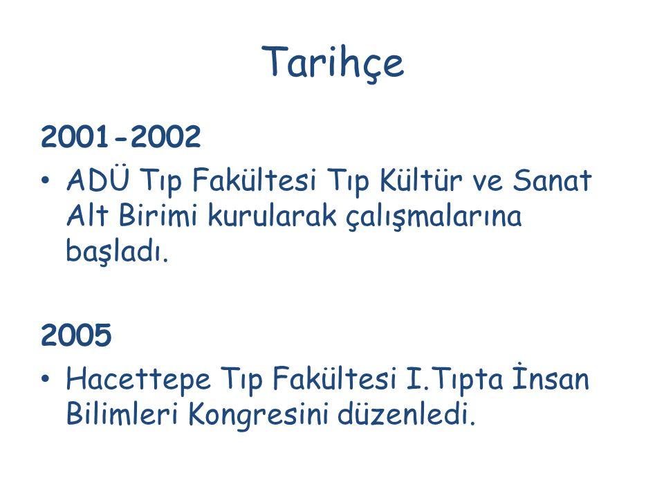 Tarihçe 2001-2002. ADÜ Tıp Fakültesi Tıp Kültür ve Sanat Alt Birimi kurularak çalışmalarına başladı.