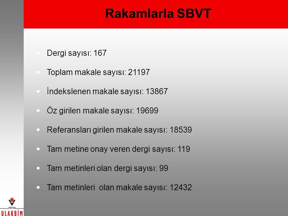 Rakamlarla SBVT Dergi sayısı: 167 Toplam makale sayısı: 21197
