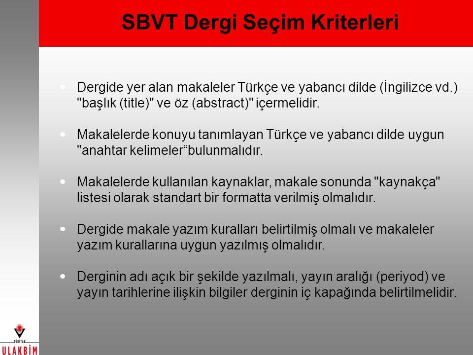 SBVT Dergi Seçim Kriterleri