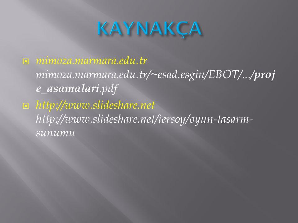 KAYNAKÇA mimoza.marmara.edu.tr mimoza.marmara.edu.tr/~esad.esgin/EBOT/.../proje_asamalari.pdf.