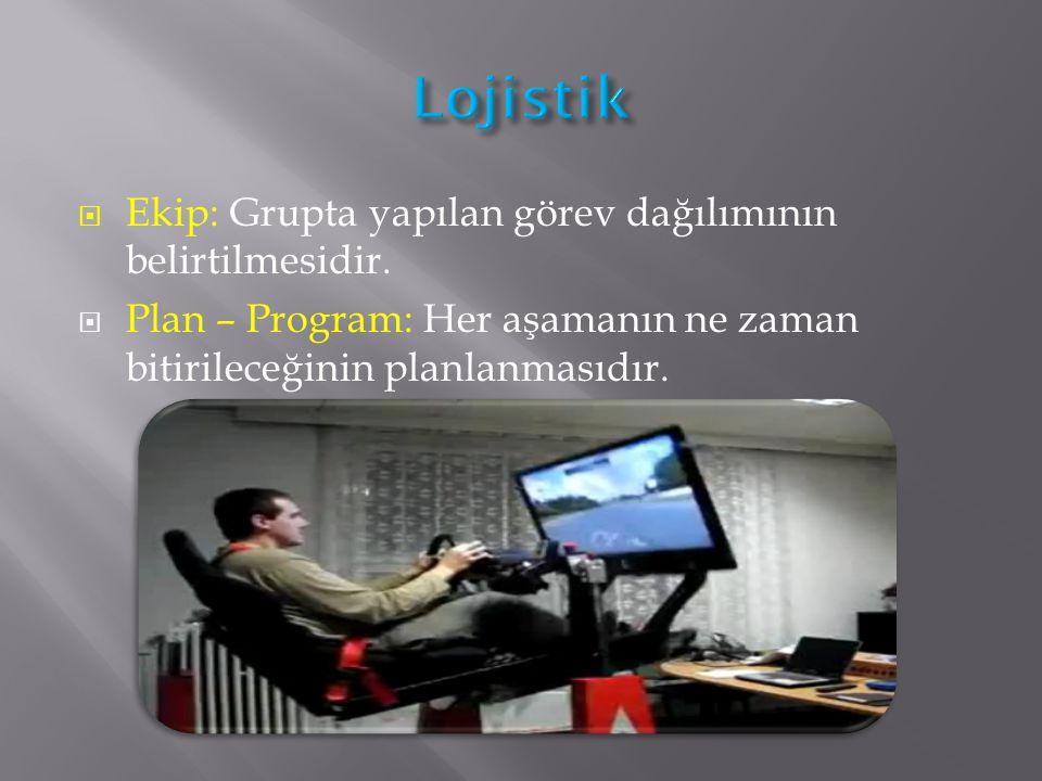 Lojistik Ekip: Grupta yapılan görev dağılımının belirtilmesidir.