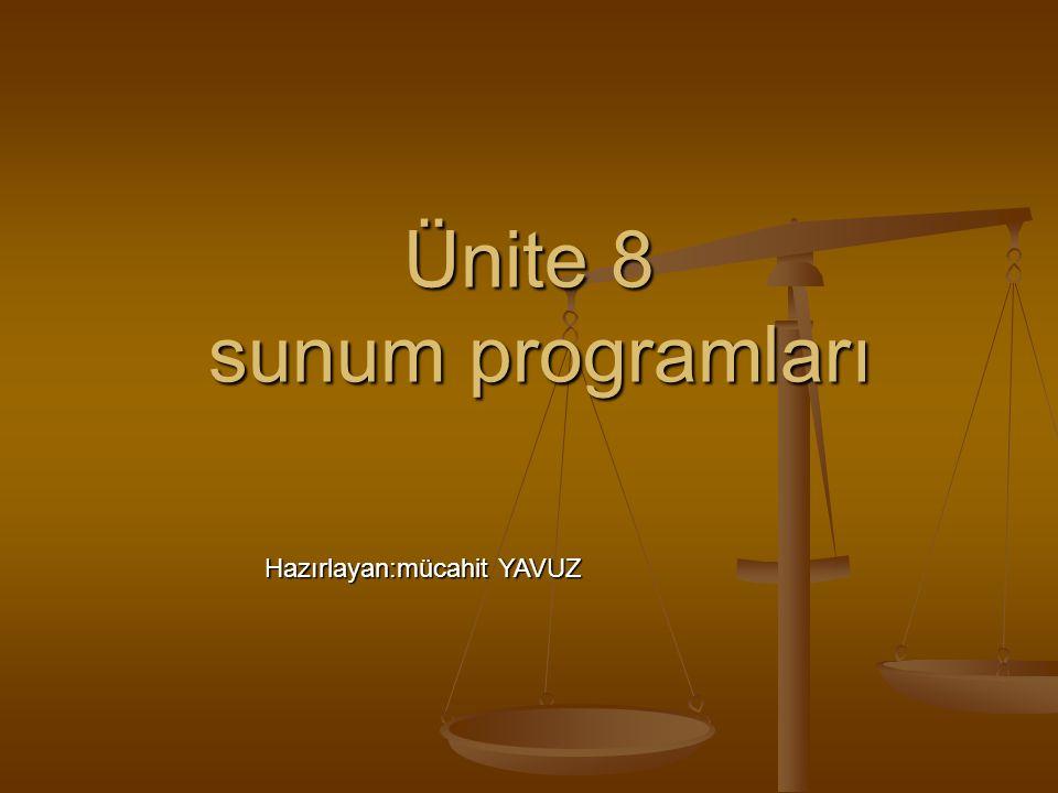 Ünite 8 sunum programları