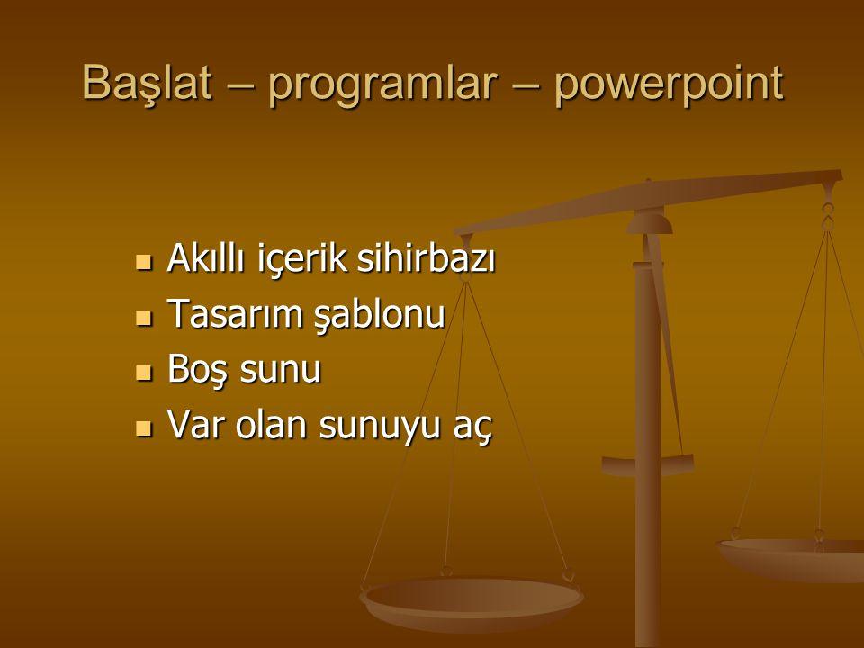 Başlat – programlar – powerpoint