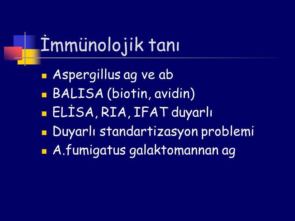 İmmünolojik tanı Aspergillus ag ve ab BALISA (biotin, avidin)