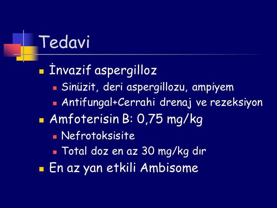 Tedavi İnvazif aspergilloz Amfoterisin B: 0,75 mg/kg