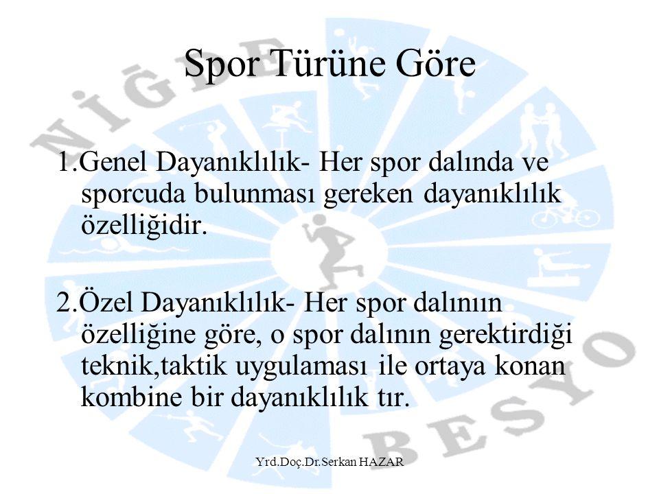Spor Türüne Göre 1.Genel Dayanıklılık- Her spor dalında ve sporcuda bulunması gereken dayanıklılık özelliğidir.