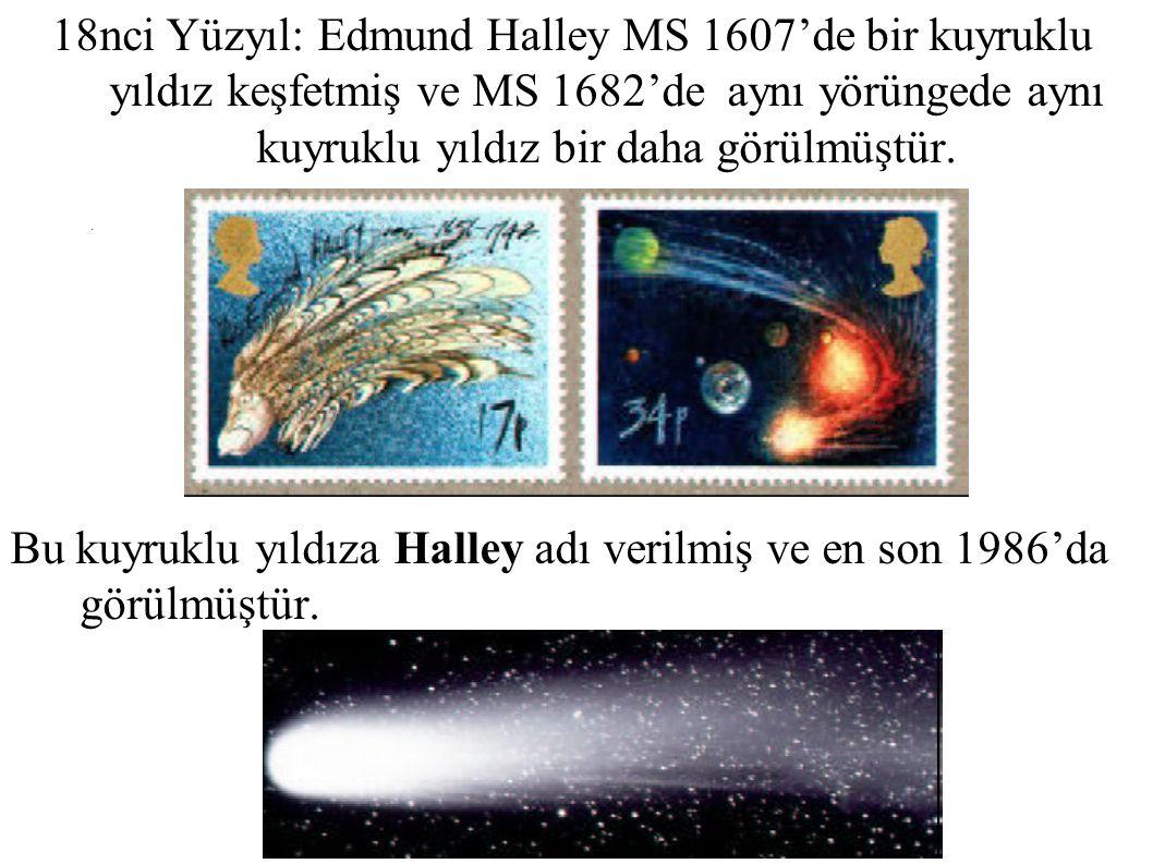 18nci Yüzyıl: Edmund Halley MS 1607'de bir kuyruklu yıldız keşfetmiş ve MS 1682'de aynı yörüngede aynı kuyruklu yıldız bir daha görülmüştür.