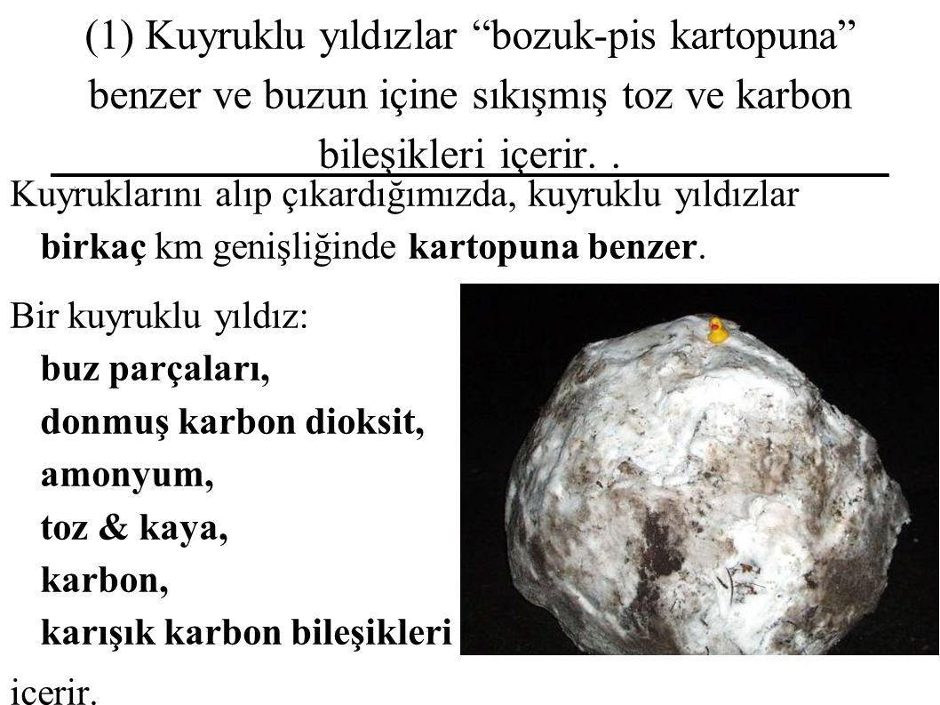 (1) Kuyruklu yıldızlar bozuk-pis kartopuna benzer ve buzun içine sıkışmış toz ve karbon bileşikleri içerir. .