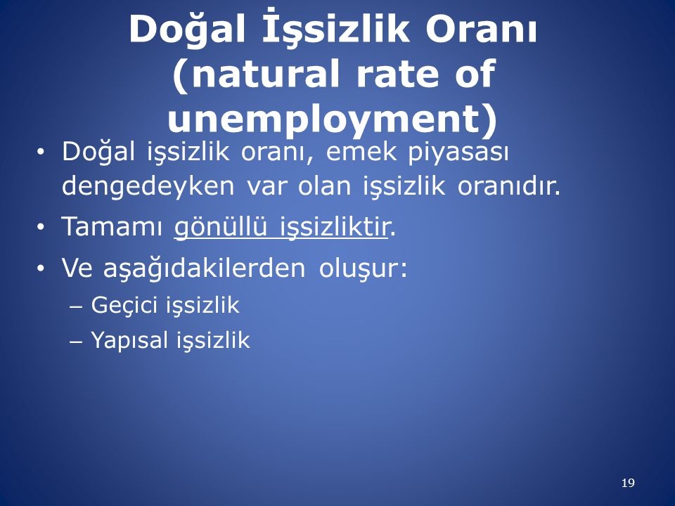 Doğal İşsizlik Oranı (natural rate of unemployment)