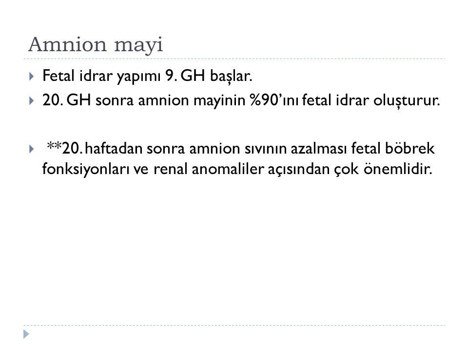 Amnion mayi Fetal idrar yapımı 9. GH başlar.