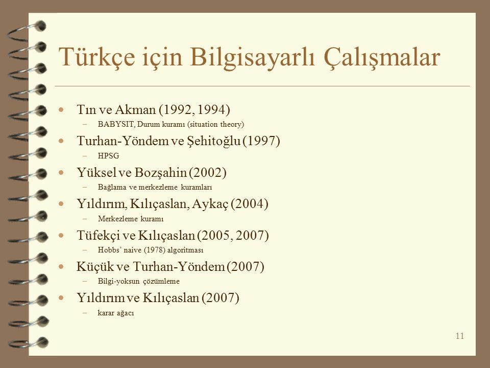 Türkçe için Bilgisayarlı Çalışmalar