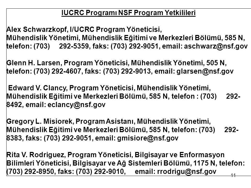 IUCRC Programı NSF Program Yetkilileri