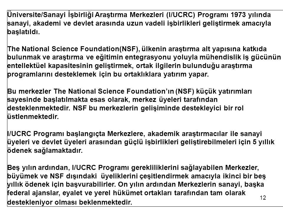 Üniversite/Sanayi İşbirliği Araştırma Merkezleri (I/UCRC) Programı 1973 yılında sanayi, akademi ve devlet arasında uzun vadeli işbirlikleri geliştirmek amacıyla başlatıldı.