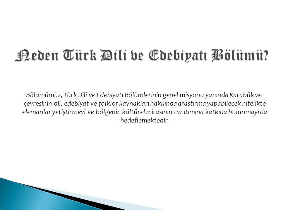 Neden Türk Dili ve Edebiyatı Bölümü