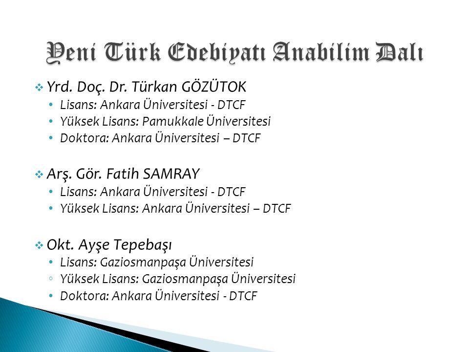 Yeni Türk Edebiyatı Anabilim Dalı