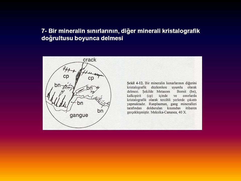 7- Bir mineralin sınırlarının, diğer minerali kristalografik doğrultusu boyunca delmesi