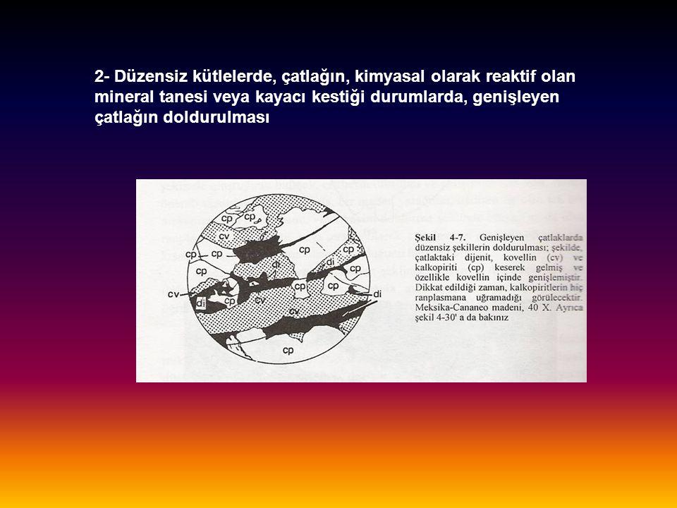 2- Düzensiz kütlelerde, çatlağın, kimyasal olarak reaktif olan mineral tanesi veya kayacı kestiği durumlarda, genişleyen çatlağın doldurulması