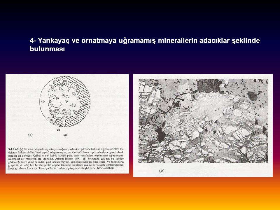 4- Yankayaç ve ornatmaya uğramamış minerallerin adacıklar şeklinde bulunması