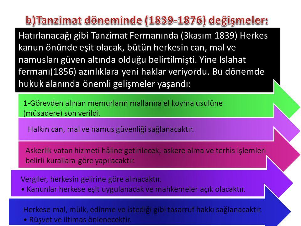 b)Tanzimat döneminde (1839-1876) değişmeler: