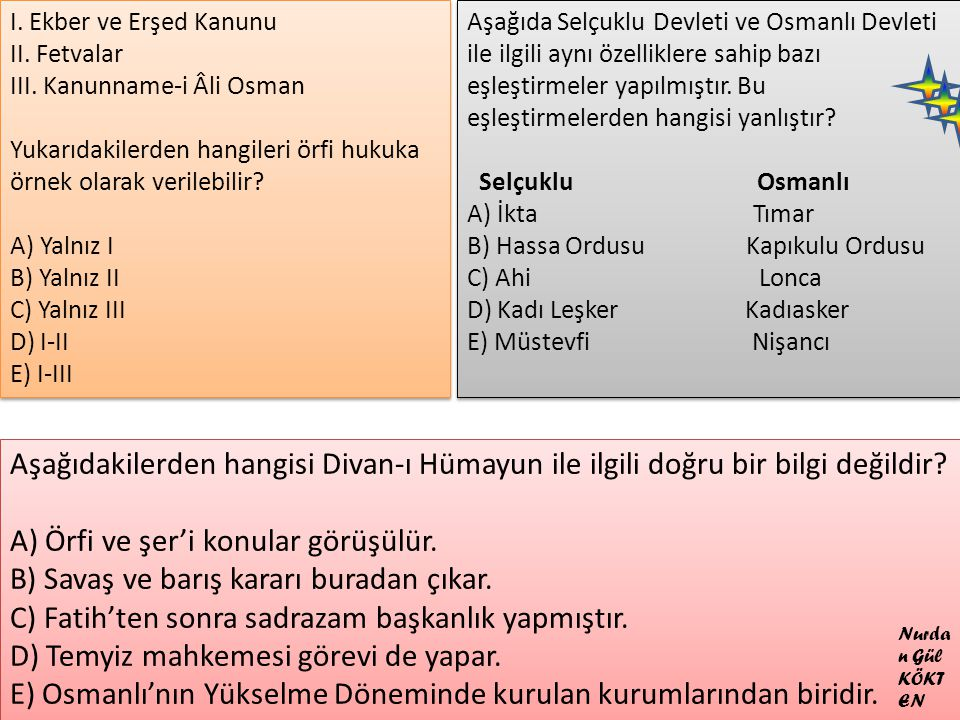 I. Ekber ve Erşed Kanunu II. Fetvalar III