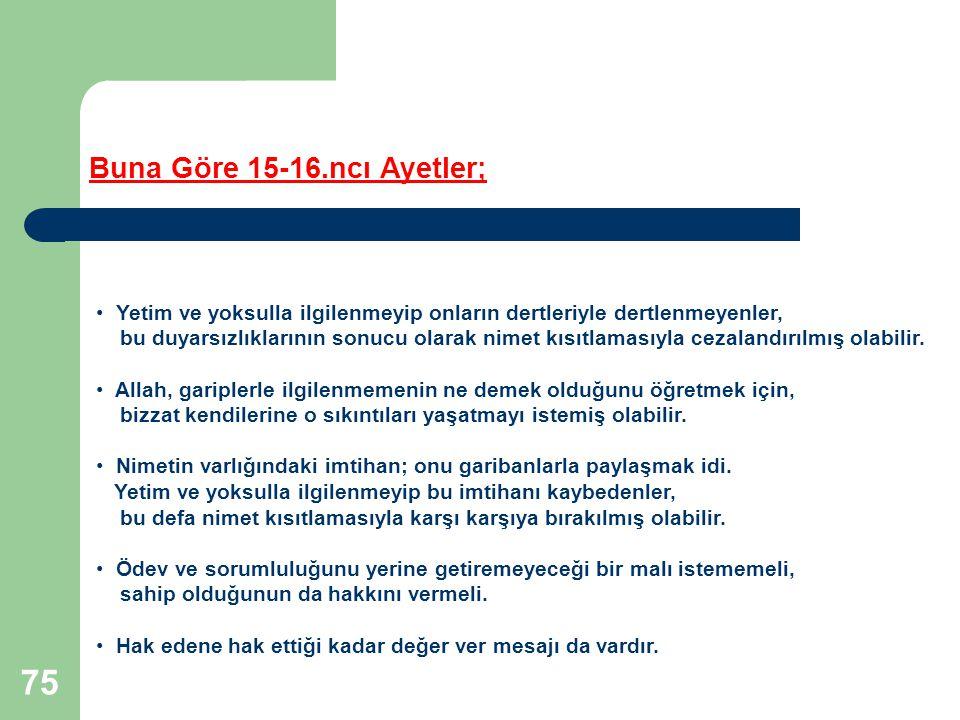 Buna Göre 15-16.ncı Ayetler;