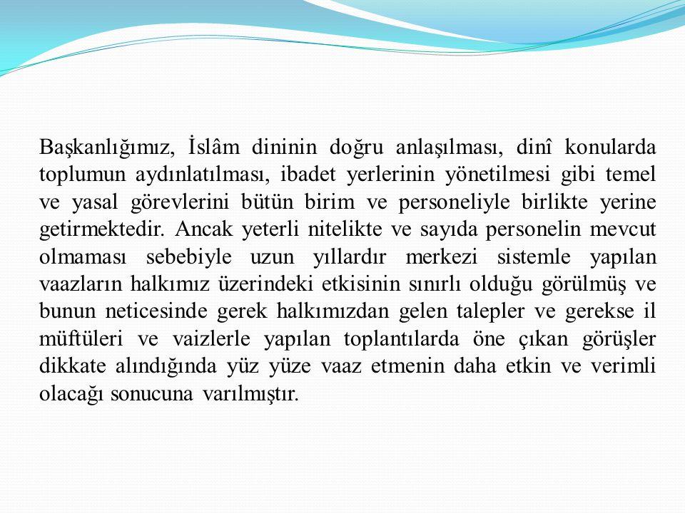 Başkanlığımız, İslâm dininin doğru anlaşılması, dinî konularda toplumun aydınlatılması, ibadet yerlerinin yönetilmesi gibi temel ve yasal görevlerini bütün birim ve personeliyle birlikte yerine getirmektedir.