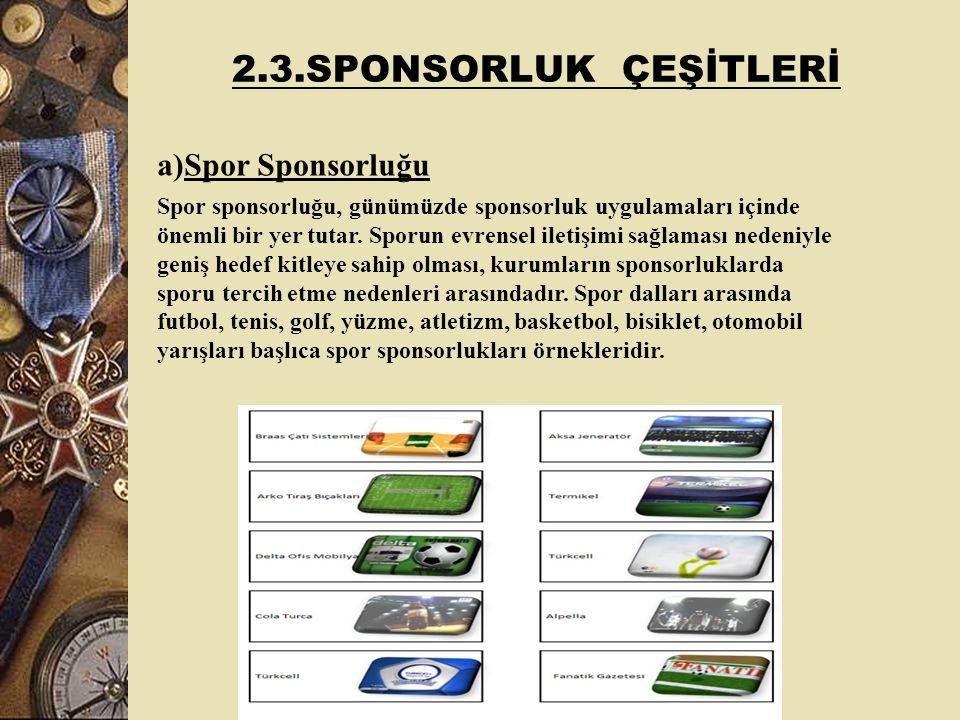 2.3.SPONSORLUK ÇEŞİTLERİ Spor Sponsorluğu