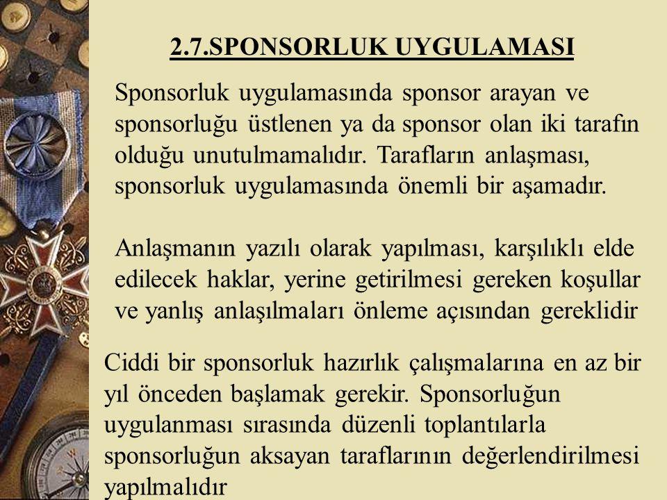2.7.SPONSORLUK UYGULAMASI