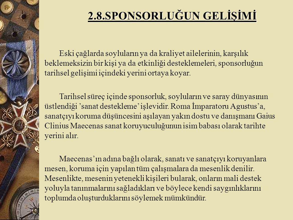 2.8.SPONSORLUĞUN GELİŞİMİ