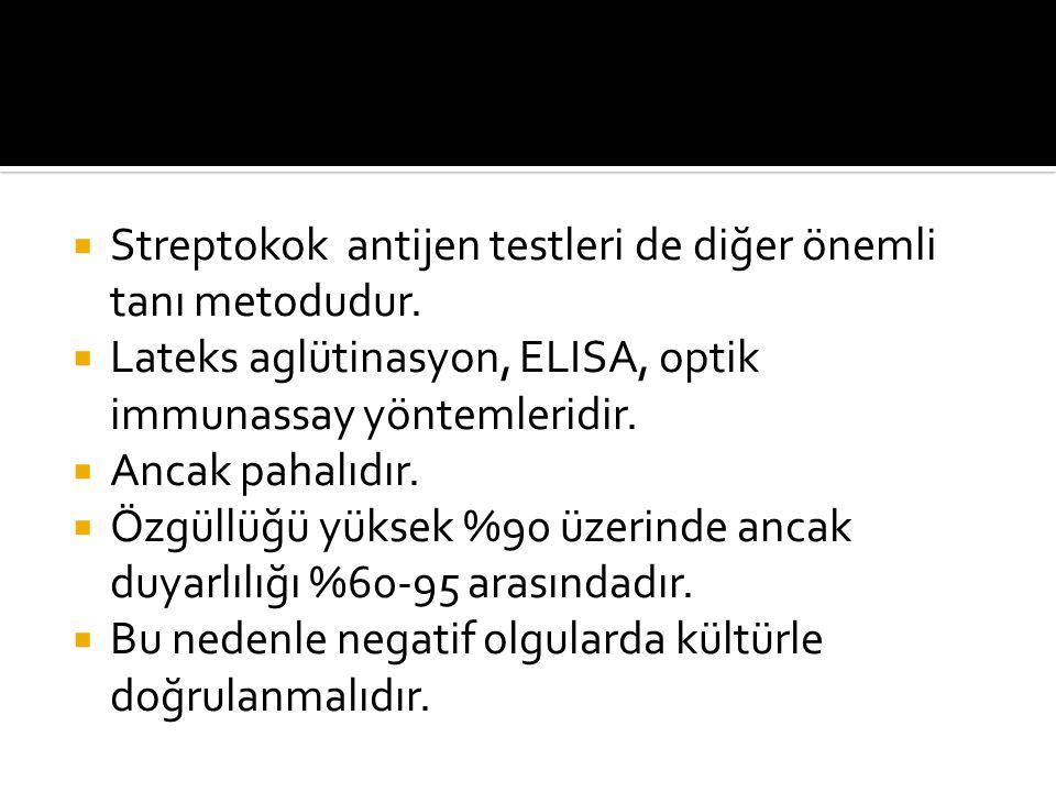Streptokok antijen testleri de diğer önemli tanı metodudur.