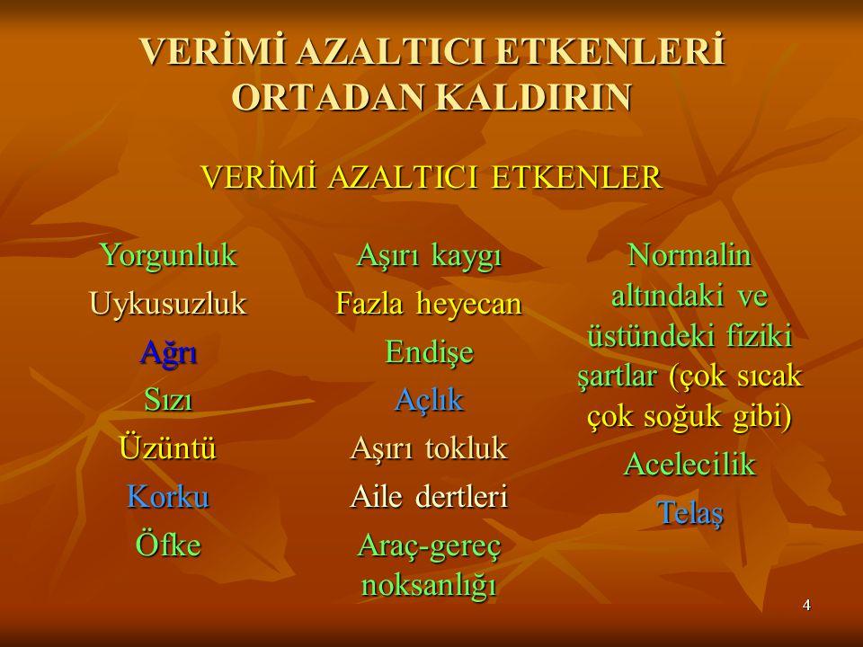 VERİMİ AZALTICI ETKENLERİ ORTADAN KALDIRIN