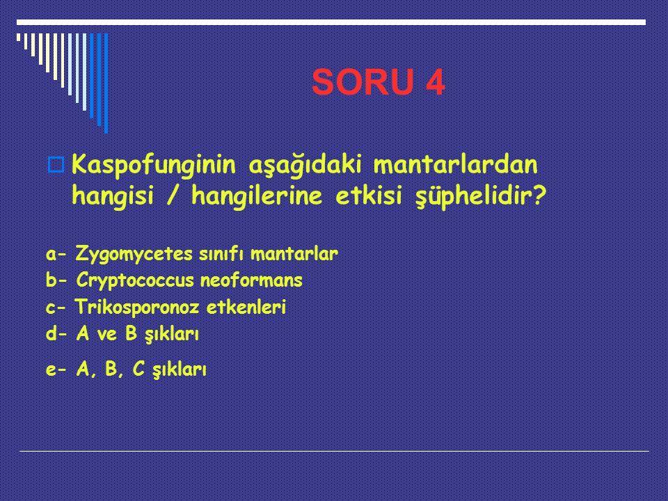 SORU 4 Kaspofunginin aşağıdaki mantarlardan hangisi / hangilerine etkisi şüphelidir a- Zygomycetes sınıfı mantarlar.