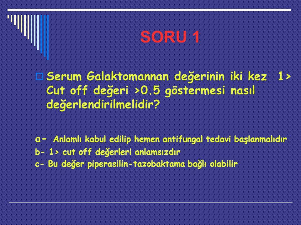 SORU 1 Serum Galaktomannan değerinin iki kez 1> Cut off değeri >0.5 göstermesi nasıl değerlendirilmelidir