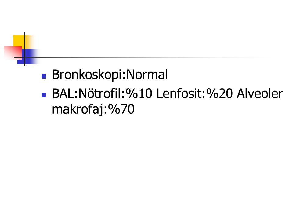 Bronkoskopi:Normal BAL:Nötrofil:%10 Lenfosit:%20 Alveoler makrofaj:%70