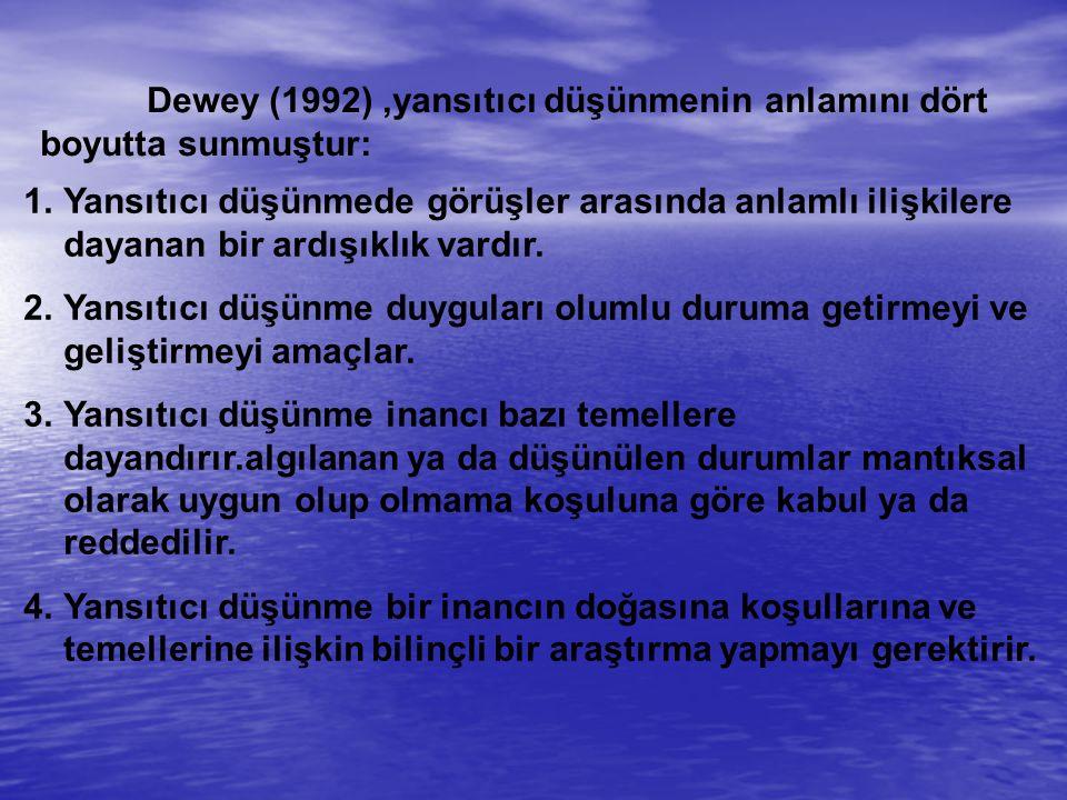 Dewey (1992) ,yansıtıcı düşünmenin anlamını dört boyutta sunmuştur: