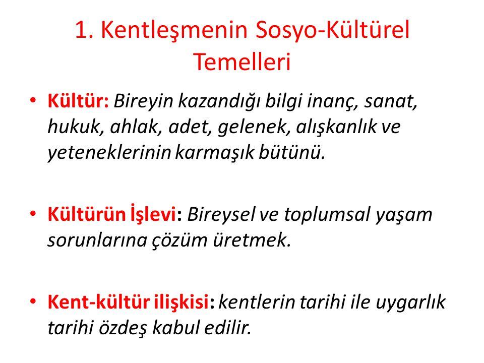 1. Kentleşmenin Sosyo-Kültürel Temelleri