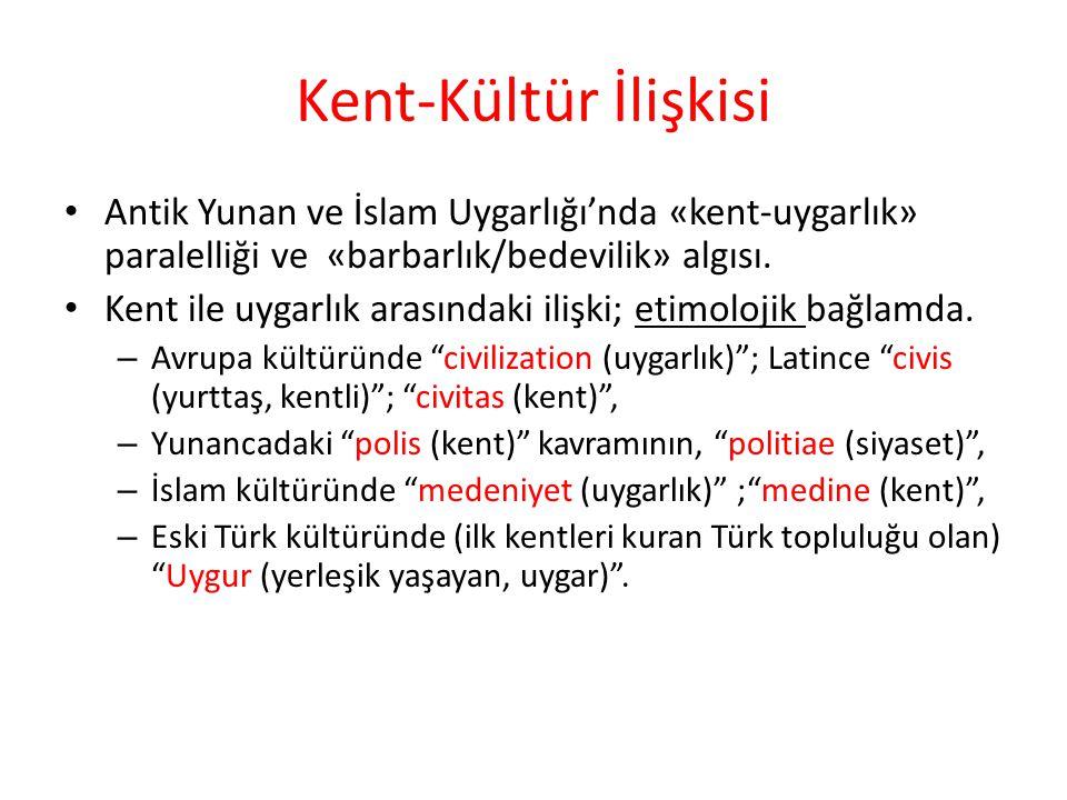 Kent-Kültür İlişkisi Antik Yunan ve İslam Uygarlığı'nda «kent-uygarlık» paralelliği ve «barbarlık/bedevilik» algısı.