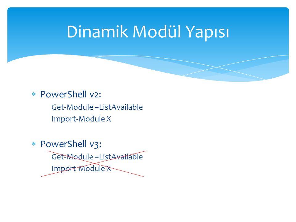 Dinamik Modül Yapısı PowerShell v2: PowerShell v3: