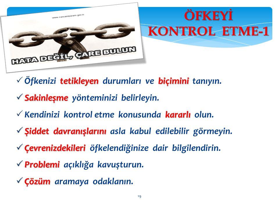 ÖFKEYİ KONTROL ETME-1 Öfkenizi tetikleyen durumları ve biçimini tanıyın. Sakinleşme yönteminizi belirleyin.