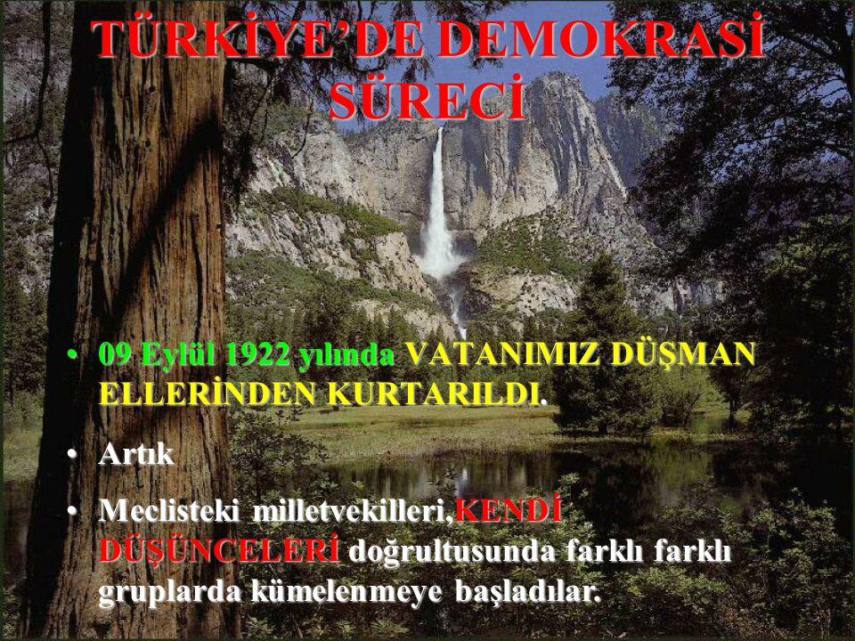 TÜRKİYE'DE DEMOKRASİ SÜRECİ