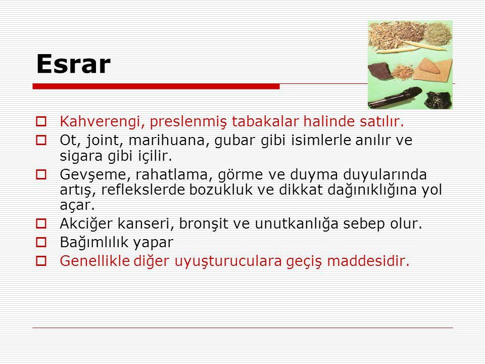 Esrar Kahverengi, preslenmiş tabakalar halinde satılır.