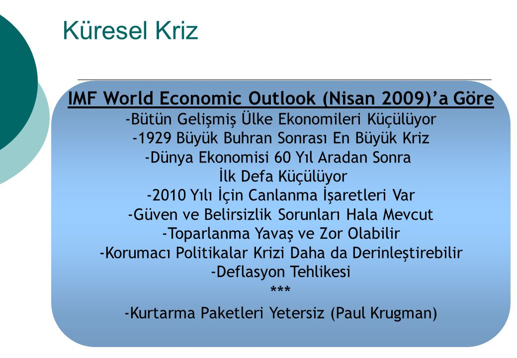 IMF World Economic Outlook (Nisan 2009)'a Göre